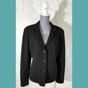 Eileen Fisher Black Crinkle Textured Blazer Jacket